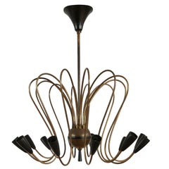Italian Midcentury Spider/Octopus Brass Chandelier Light