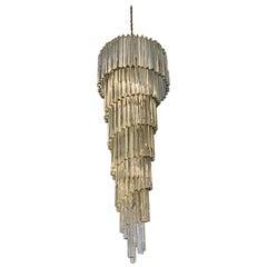 Italian Midcentury Spiral Glass Chandelier