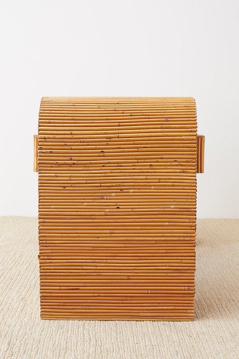 Italian Midcentury Split Reed Bamboo Rattan Writing Desk For Sale 4