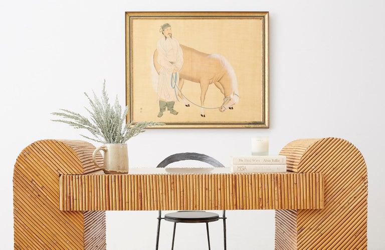 Italian Midcentury Split Reed Bamboo Rattan Writing Desk For Sale 5