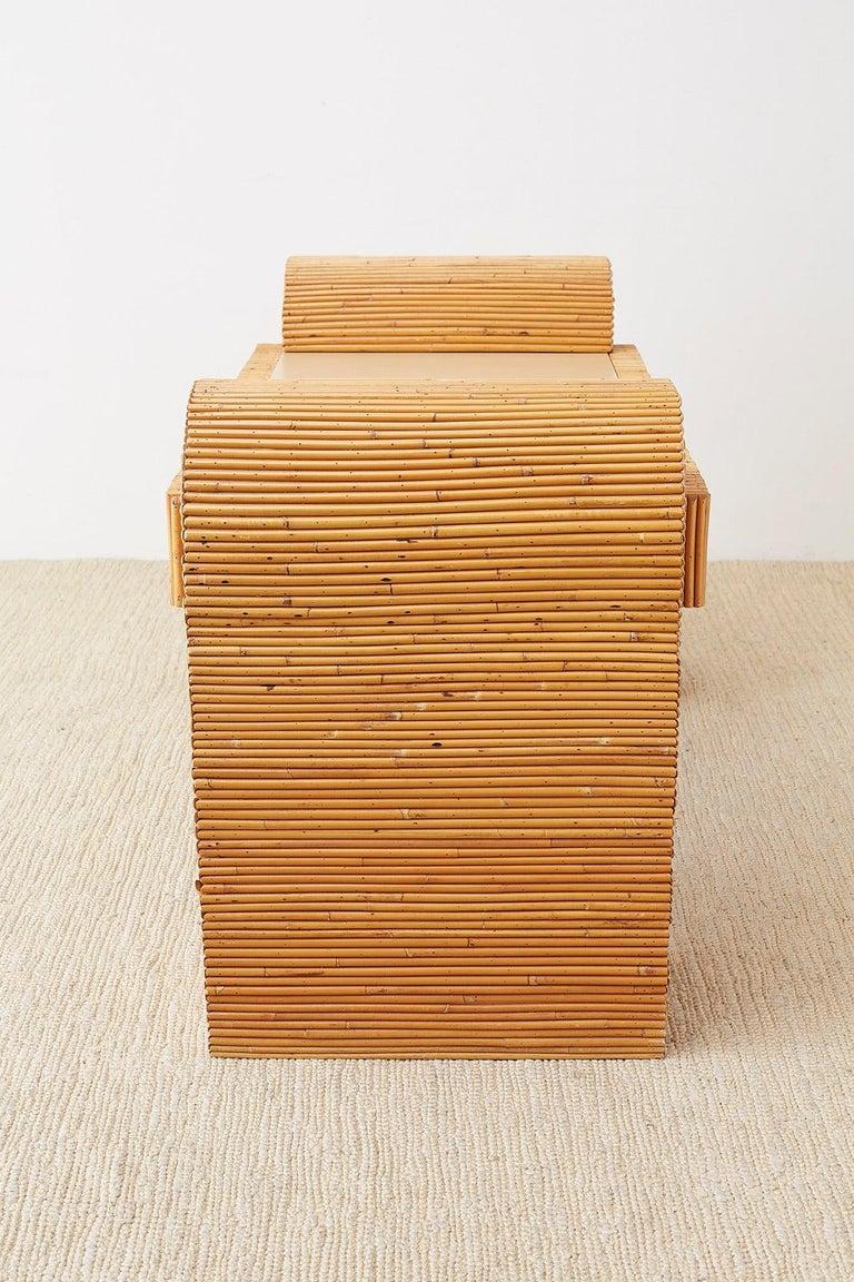 Italian Midcentury Split Reed Bamboo Rattan Writing Desk For Sale 6