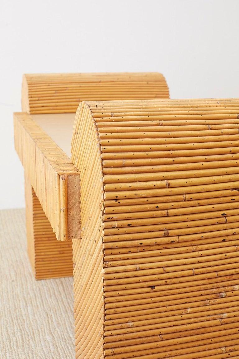 Italian Midcentury Split Reed Bamboo Rattan Writing Desk For Sale 7
