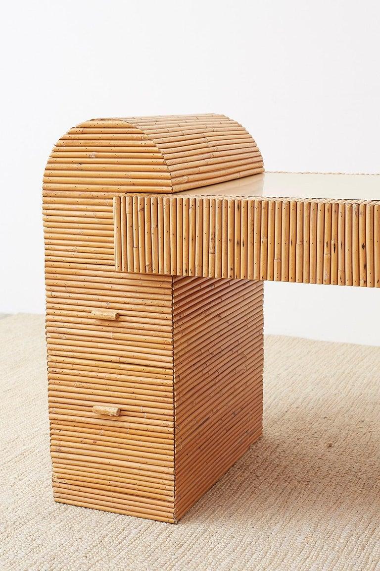 Italian Midcentury Split Reed Bamboo Rattan Writing Desk For Sale 8