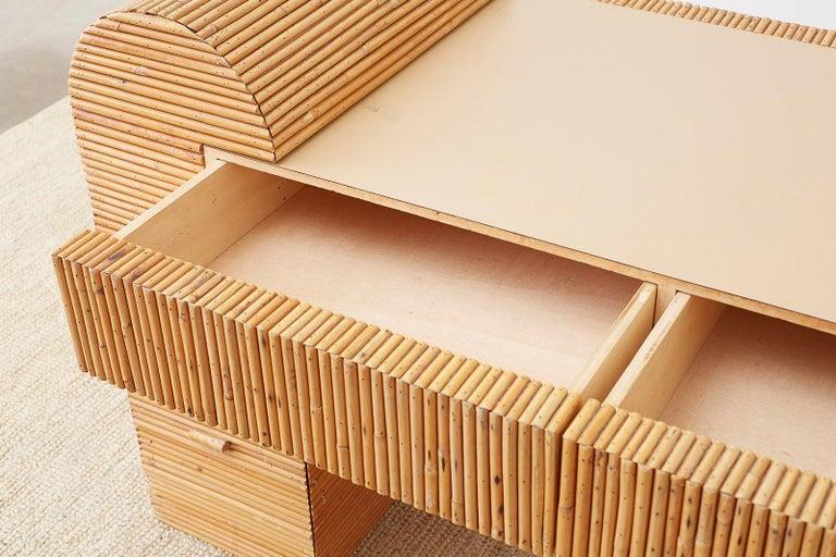 Italian Midcentury Split Reed Bamboo Rattan Writing Desk For Sale 9