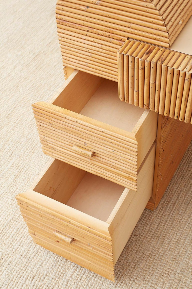 Italian Midcentury Split Reed Bamboo Rattan Writing Desk For Sale 10