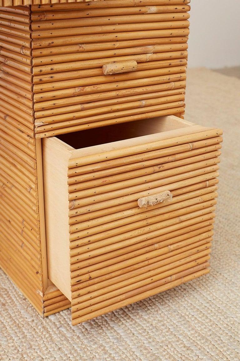 Italian Midcentury Split Reed Bamboo Rattan Writing Desk For Sale 11