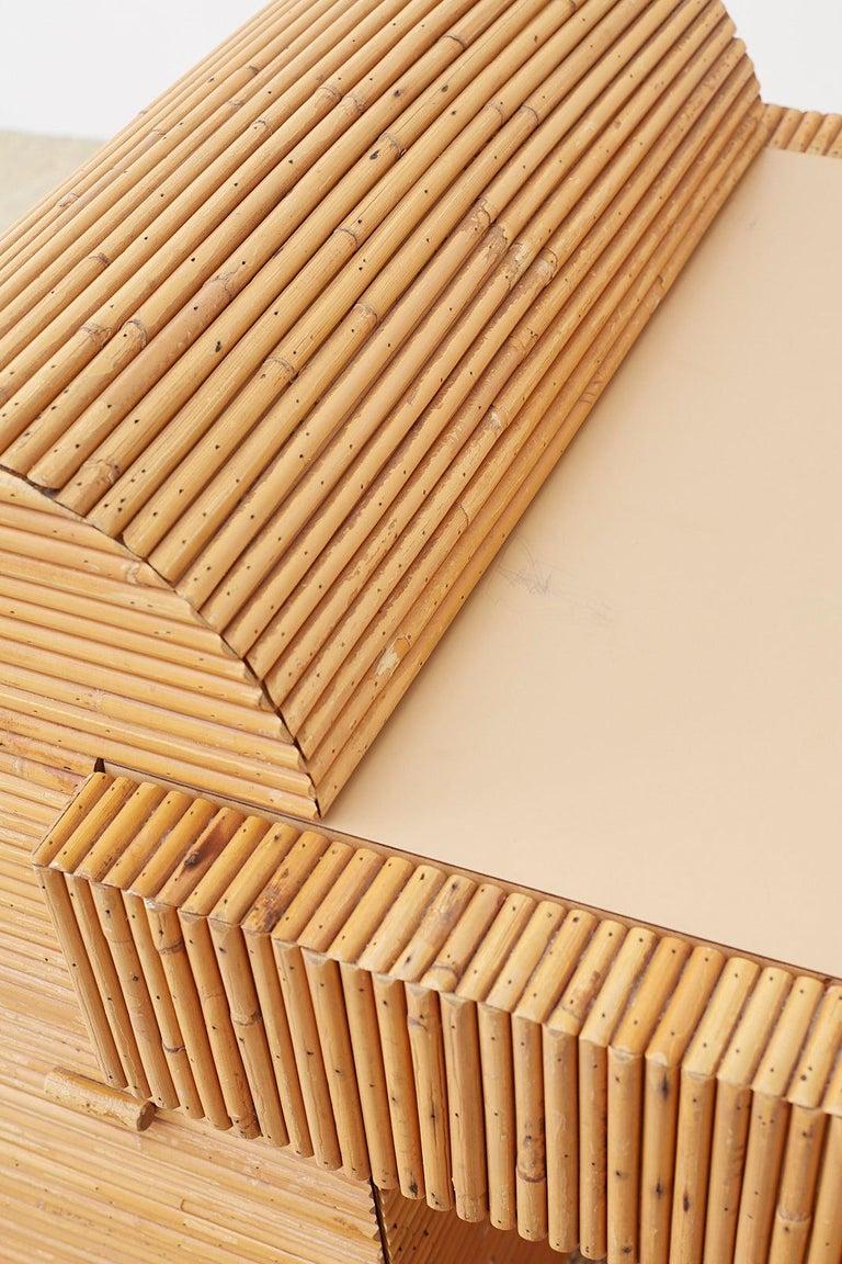 Italian Midcentury Split Reed Bamboo Rattan Writing Desk For Sale 12