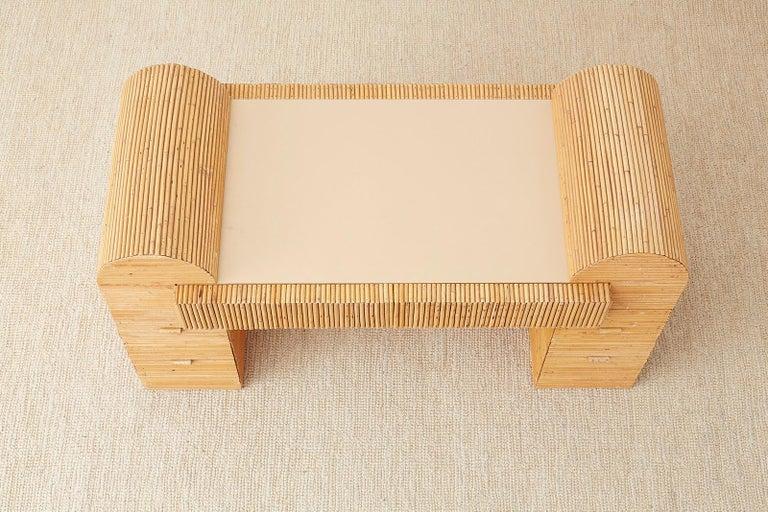 Italian Midcentury Split Reed Bamboo Rattan Writing Desk For Sale 13