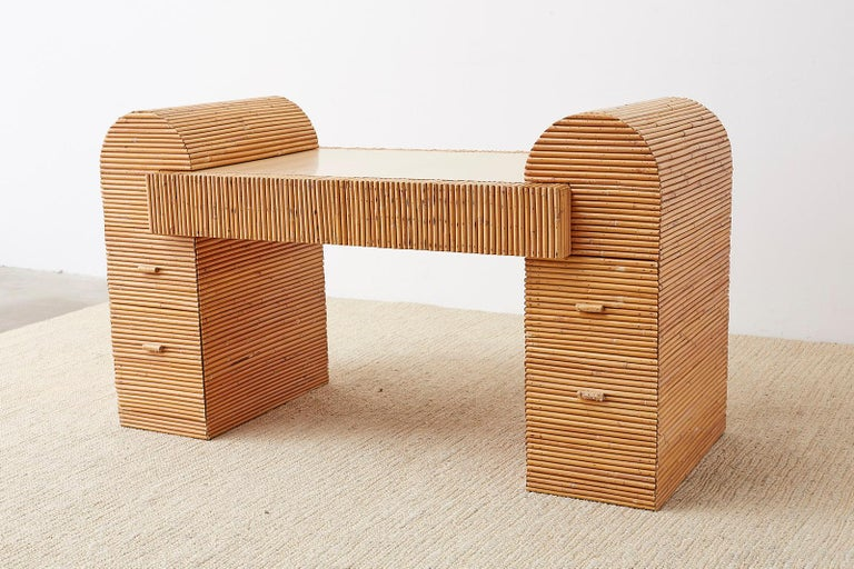 Italian Midcentury Split Reed Bamboo Rattan Writing Desk For Sale 14