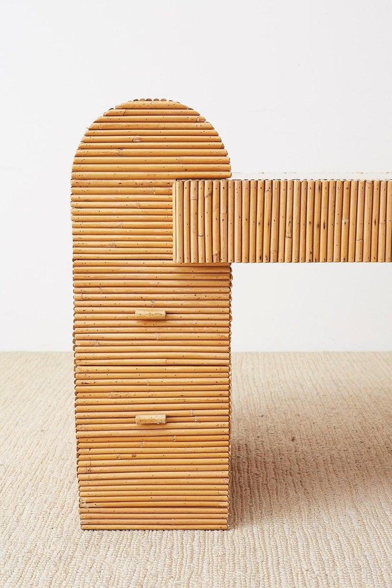 Mid-Century Modern Italian Midcentury Split Reed Bamboo Rattan Writing Desk For Sale