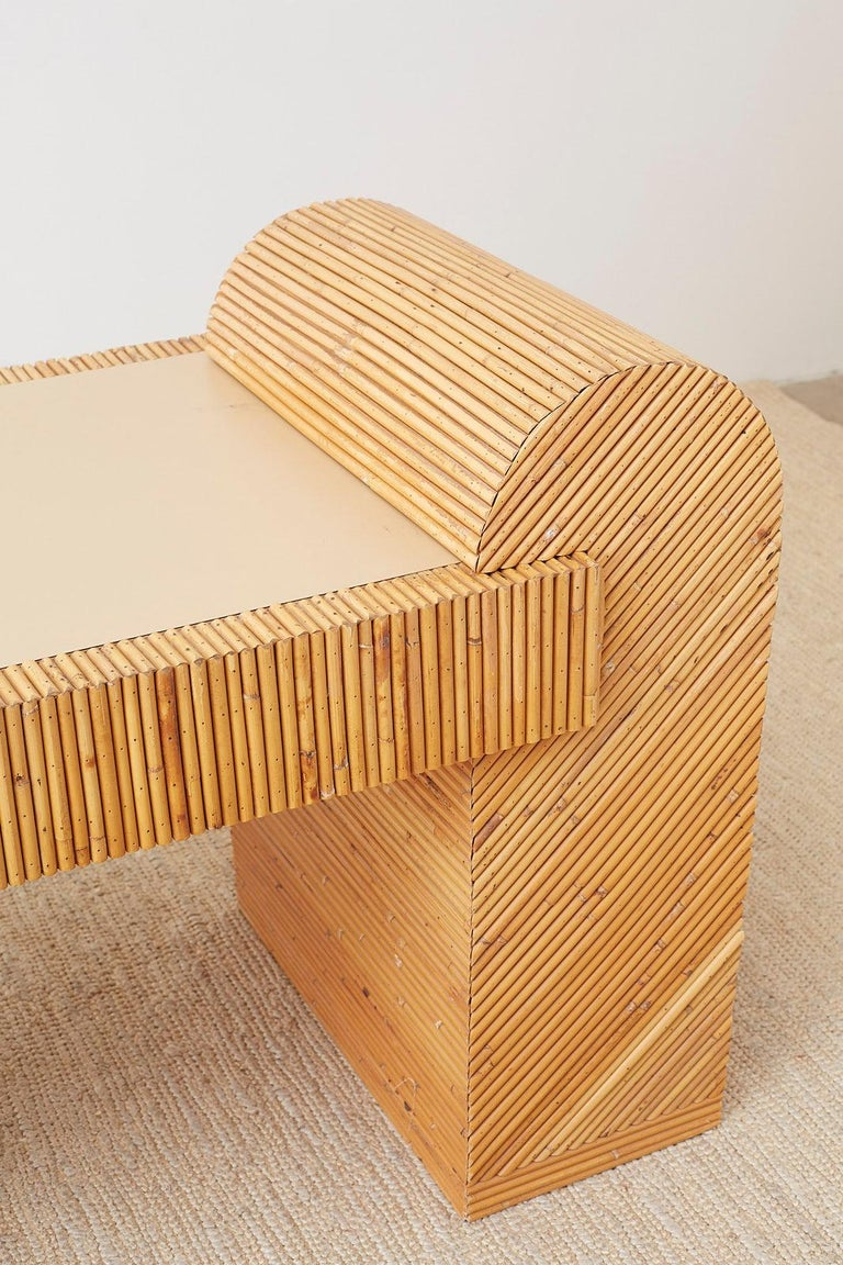 20th Century Italian Midcentury Split Reed Bamboo Rattan Writing Desk For Sale