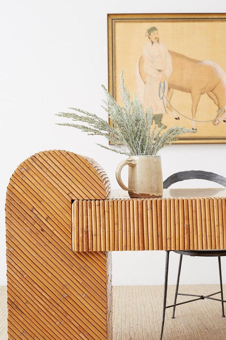 Italian Midcentury Split Reed Bamboo Rattan Writing Desk For Sale 1