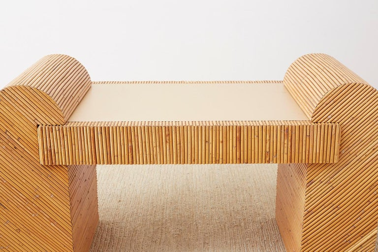 Italian Midcentury Split Reed Bamboo Rattan Writing Desk For Sale 2