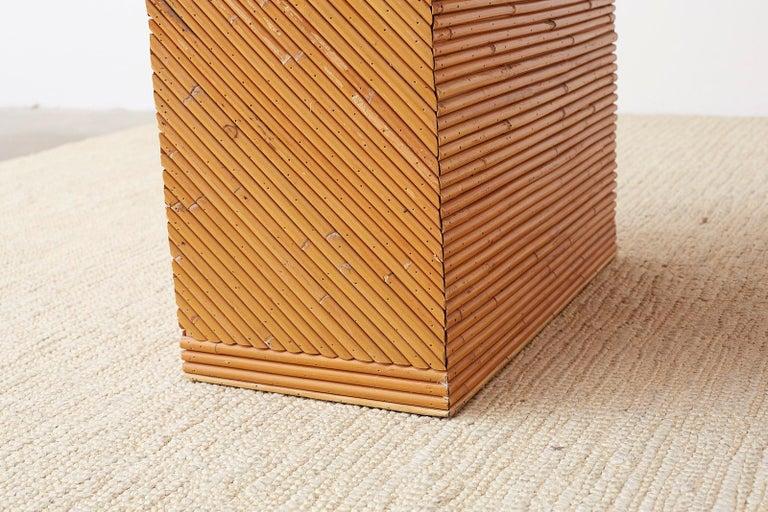 Italian Midcentury Split Reed Bamboo Rattan Writing Desk For Sale 3