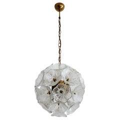 Italian Midcentury Sputnik Glass and Brass Chandelier by Venini, 1960s