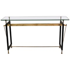 Italian Midcentury Steel, Brass and Glass Cantilevered Console, Franco Albini
