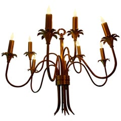 Italian Midcentury Stilnovo Style Nine-Light Brass Chandelier