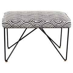 Italian Midcentury Style Bench with Black Iron Hairpin Legs