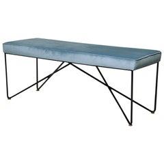 Italian Midcentury Style Bench with Blue Velvet Upholstery