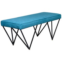 Italian Midcentury Style Bench with Teal Fabric and Black Metal Legs