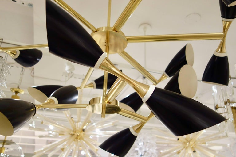 Enameled Italian Midcentury Style Black Cone and Solid Brass Studio Made Chandelier For Sale
