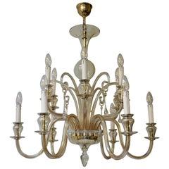 Italian Midcentury Style Hand Blown Murano Venetian Glass Chandelier