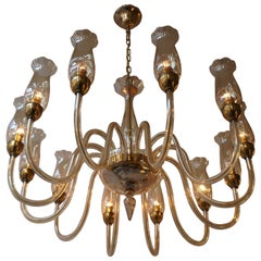 Italian Midcentury Style Murano Venetian Crystal Chandelier