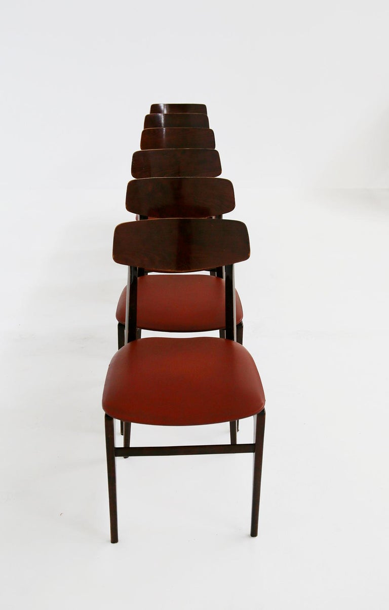 Faux Leather Italian Midcentury Table Chairs in Burgundy Semi-Leather, Turinese School, 1950s For Sale