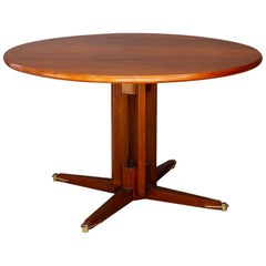 Italian Midcentury Table in Wood and Brass Attributed by Gianfranco Frattini