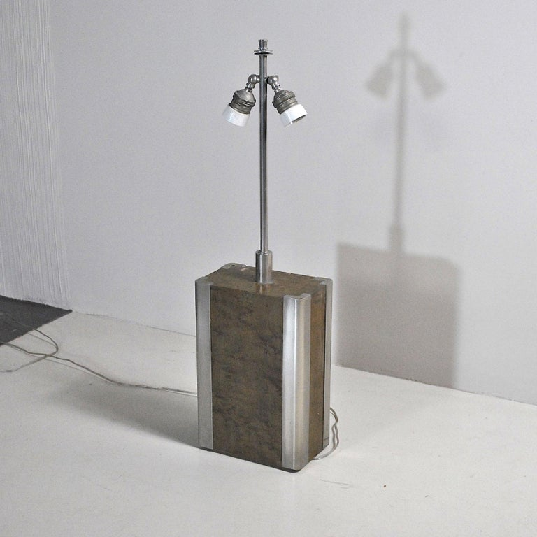 Italian Midcentury Table Lamp in Drawn Wood and Steel from the 1970s For Sale 5