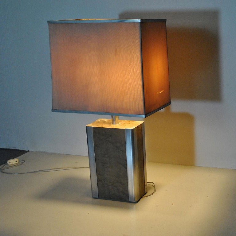 Italian Midcentury Table Lamp in Drawn Wood and Steel from the 1970s For Sale 6