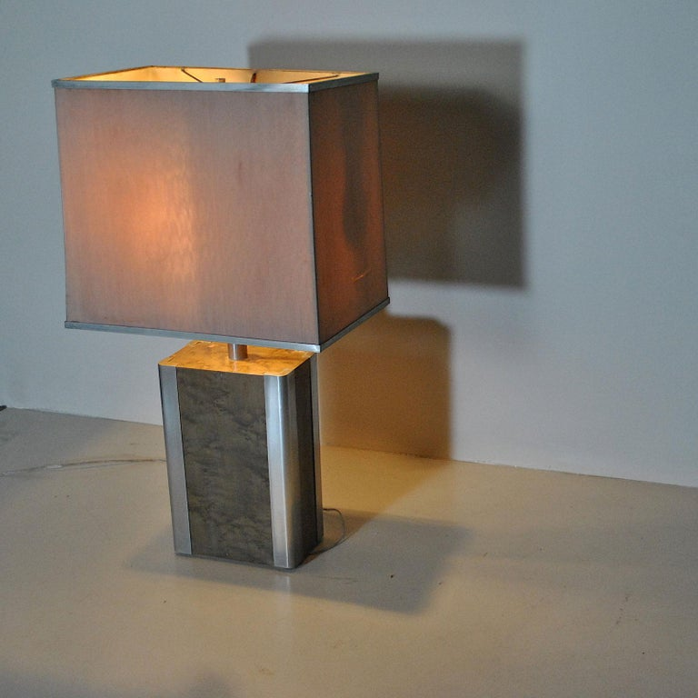 Italian Midcentury Table Lamp in Drawn Wood and Steel from the 1970s For Sale 7