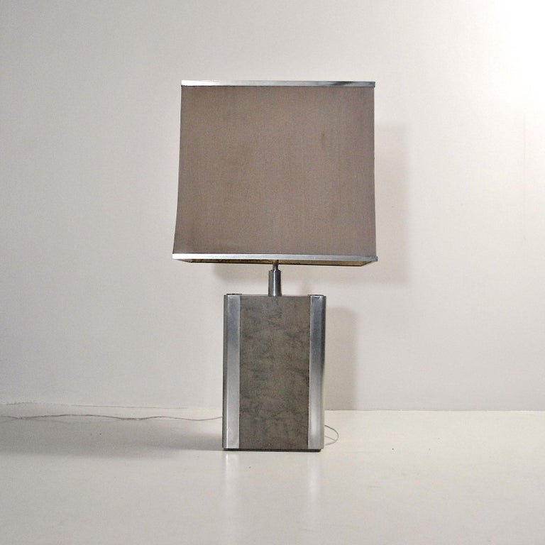 Mid-Century Modern Italian Midcentury Table Lamp in Drawn Wood and Steel from the 1970s For Sale