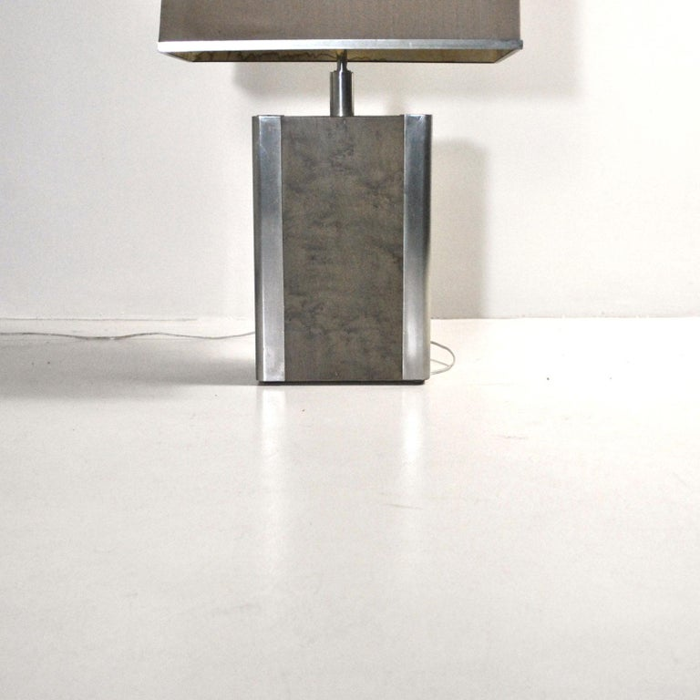 Italian Midcentury Table Lamp in Drawn Wood and Steel from the 1970s In Good Condition For Sale In bari, IT