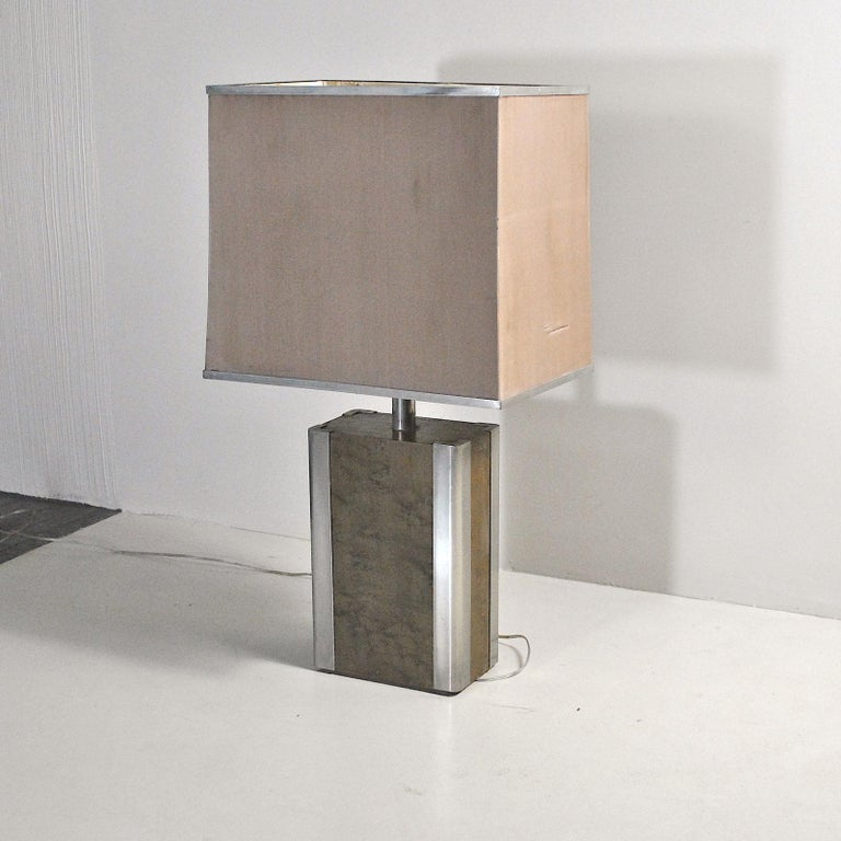 Late 20th Century Italian Midcentury Table Lamp in Drawn Wood and Steel from the 1970s For Sale