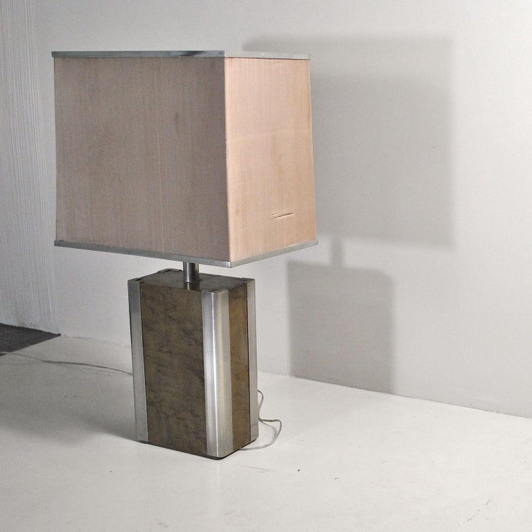 Italian Midcentury Table Lamp in Drawn Wood and Steel from the 1970s For Sale 1