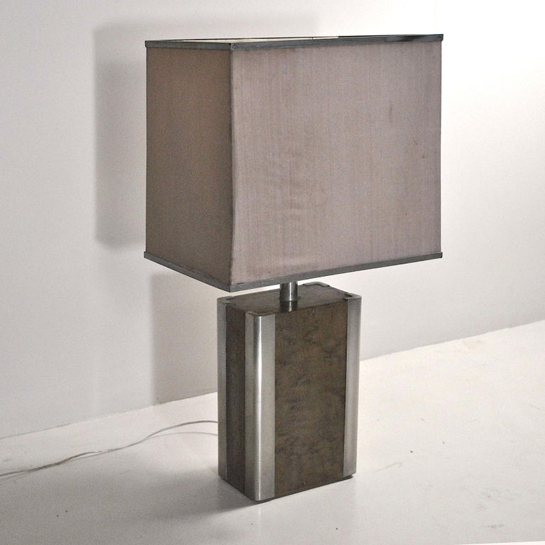 Italian Midcentury Table Lamp in Drawn Wood and Steel from the 1970s For Sale 2
