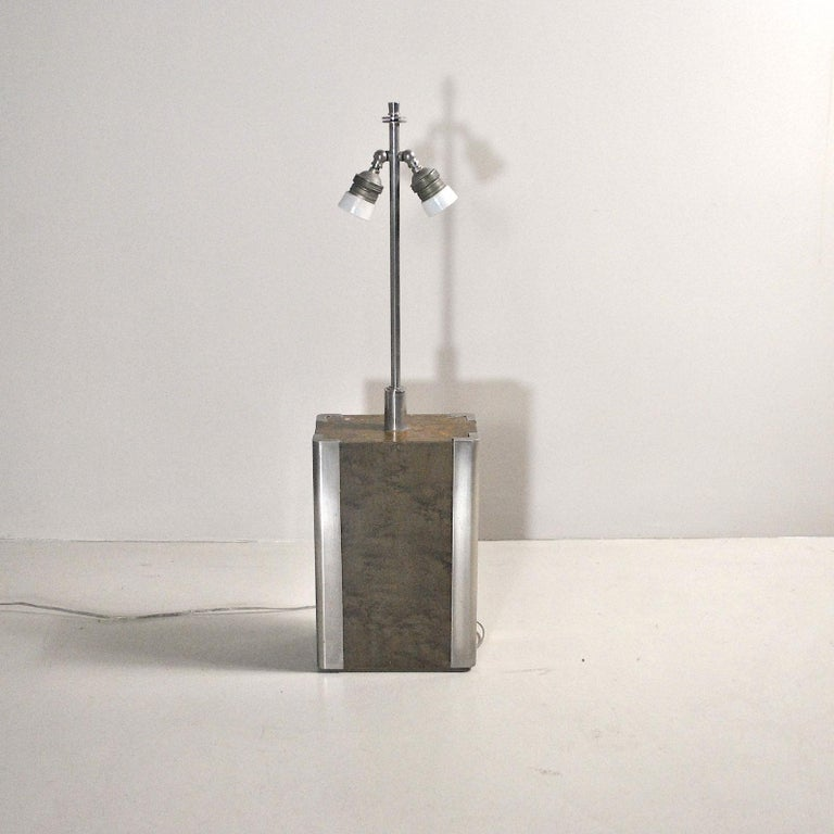 Italian Midcentury Table Lamp in Drawn Wood and Steel from the 1970s For Sale 3