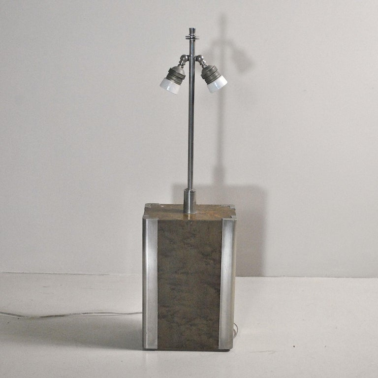 Italian Midcentury Table Lamp in Drawn Wood and Steel from the 1970s For Sale 4