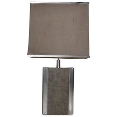Italian Midcentury Table Lamp in Drawn Wood and Steel from the 1970s