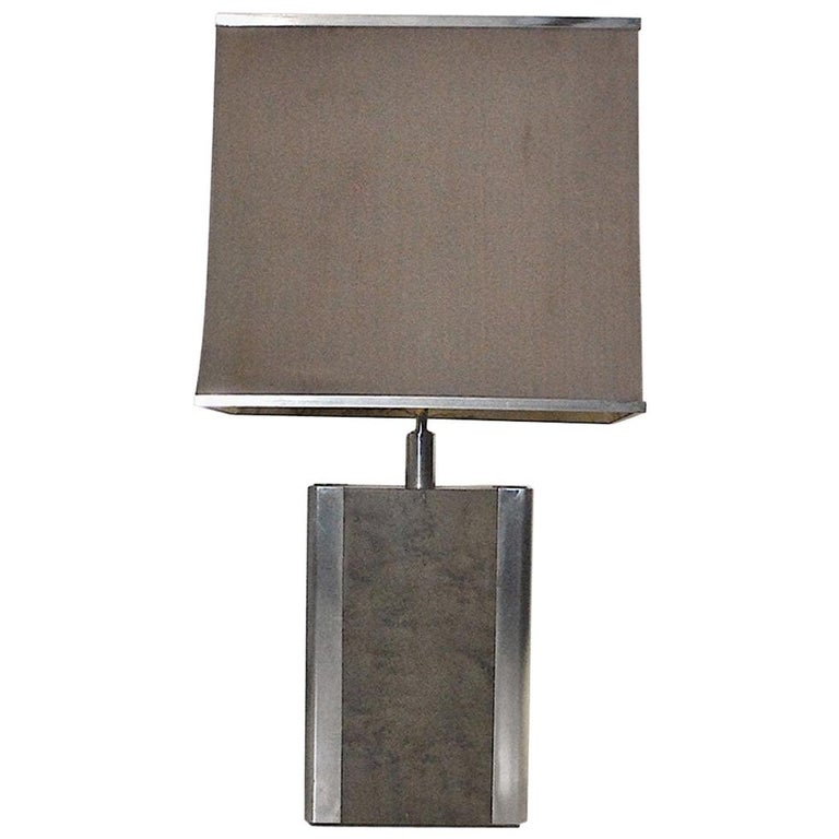 Italian Midcentury Table Lamp in Drawn Wood and Steel from the 1970s For Sale