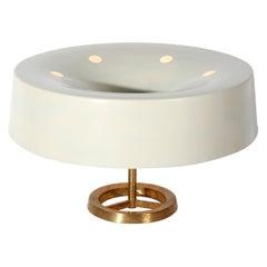 Italian MidCentury Table Lamp white by Stilnovo in brass, Italy 1950s