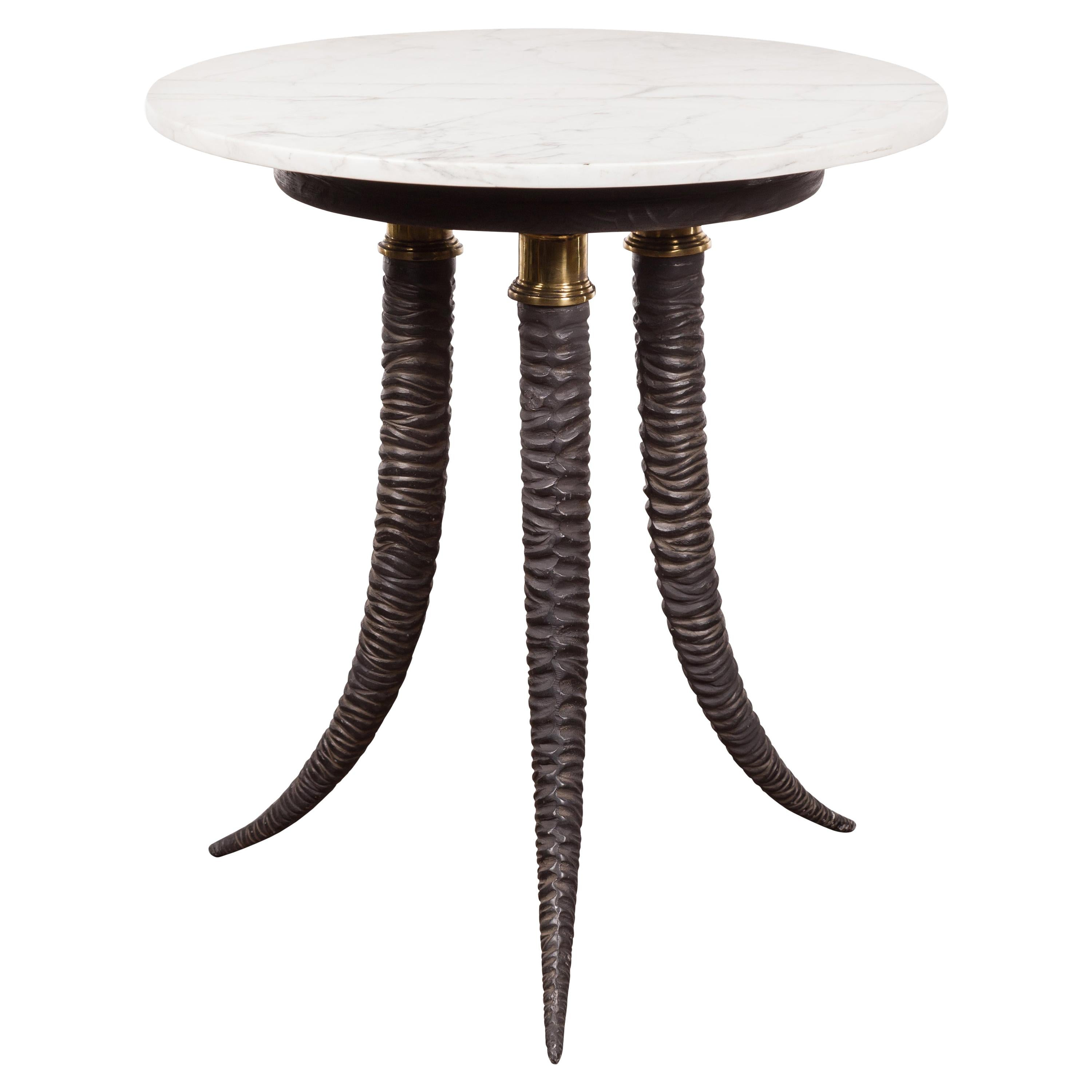 Italian Midcentury Table with Horn Style Tripod Base and White Marble Top