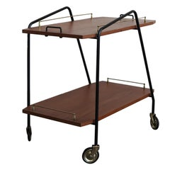 Italian Midcentury Teak and Metal Food Trolley, 1950s