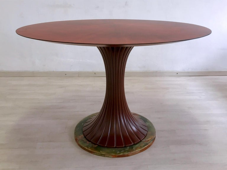 Italian Mid-Century Teak Wood Dining Table by Vittorio Dassi, 1950s In Good Condition For Sale In Traversetolo, IT