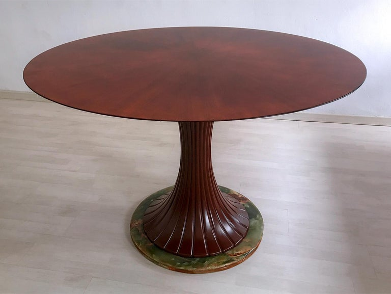 Onyx Italian Mid-Century Teak Wood Dining Table by Vittorio Dassi, 1950s For Sale