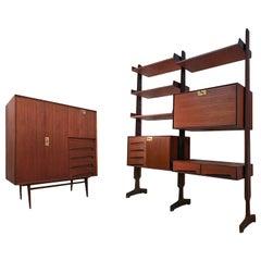 Italian Midcentury Teak Wood Sideboard and Bookcase by Vittorio Dassi, 1950s