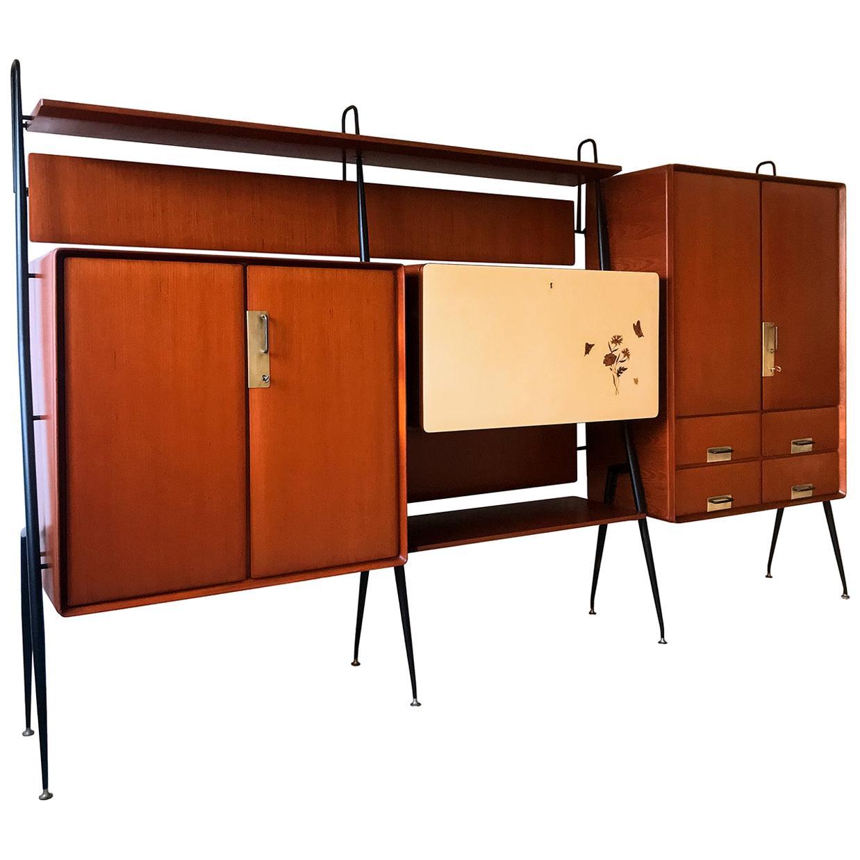 Italian Mid-Century Teakwood Sideboard by Silvio Cavatorta, 1950s
