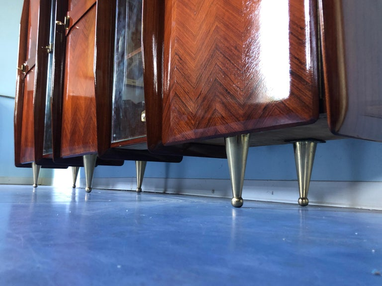 Italian Midcentury Teakwood Sideboard or Bookcase by Vittorio Dassi, 1950s For Sale 6