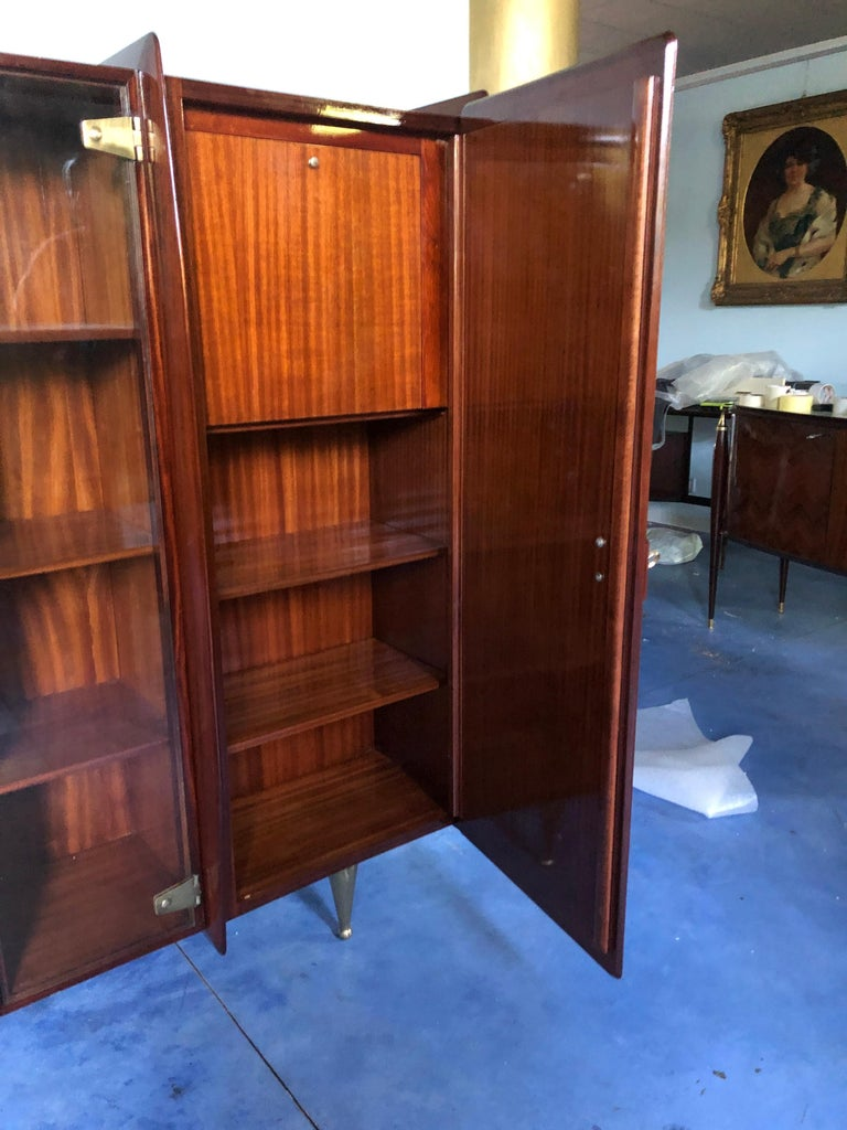 Italian Midcentury Teakwood Sideboard or Bookcase by Vittorio Dassi, 1950s For Sale 10